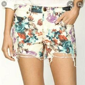 Free People Floral Cutoff Jean Shorts